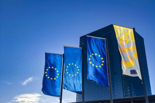 EU flags are seen in Frankfurt, Germany on November 11, 2019 [Aysu Biçer / Anadolu Agency]