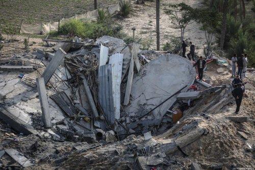 A destroyed house seen in Gaza, after Israeli airstrikes hit the building in Khan Yunis, Gaza on November 13, 2019 [Ali Jadallah / Anadolu Agency]