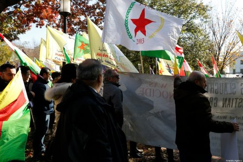 Supporters of PKK, Armenian Youth Federation and American Rojava Center for Democracy (ARCDEM) members hold a protest against Turkey during a meeting of President of Turkey Recep Tayyip Erdogan and US President Donald Trump at the White House, in Washington, United States on 13 November 2019. [Tayfun Coşkun - Anadolu Agency]