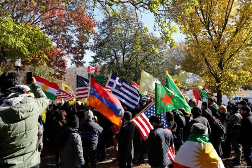 Supporters of PKK, Armenian Youth Federation and American Rojava Center for Democracy (ARCDEM) members hold a protest against Turkey during a meeting of President of Turkey Recep Tayyip Erdogan and U.S. President Donald Trump at the White House, in Washington, United States on November 13, 2019 [Tayfun Coşkun / Anadolu Agency]