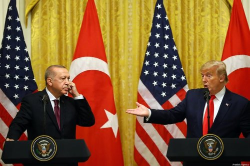 President of Turkey, Recep Tayyip Erdogan and U.S. President Donald Trump hold a joint press conference following their meeting at the White House in Washington, United States on November 13, 2019. [Halil Sağırkaya - Anadolu Agency]