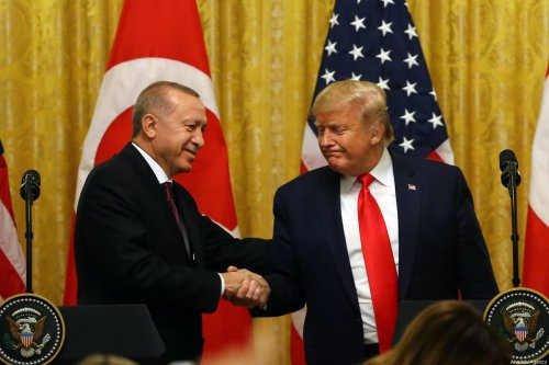 President of Turkey, Recep Tayyip Erdogan and US President Donald Trump hold a joint press conference following their meeting at the White House in Washington, United States on 13 November, 2019 [Halil Sağırkaya/Anadolu Agency]