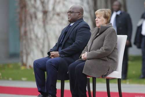 German Chancellor Angela Merkel (R) welcomes President of Democratic Republic of Congo Felix Tshisekedi (L) with an official ceremony in Berlin, Germany on November 15, 2019 [Abdülhamid Hoşbaş / Anadolu Agency]