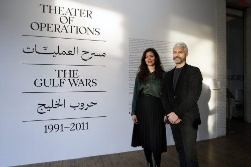 People visit ''the Theater of Operations - Gulf Wars 1991-2011'' exhibition at the MoMA PS1 in New York, United States on 15 November, 2019 [Tayfun Coşkun/Anadolu Agency]