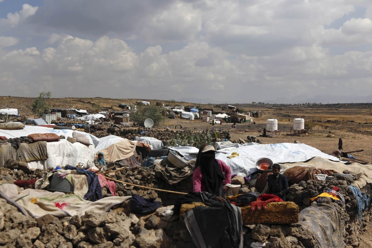 Civilians, who fled from the ongoing civil war where numerous civilian killed, are seen during their daily lives despite many difficulties at Al-Raqah refugee camp in Amran province of northern Sanaa, Yemen on 24 November 2019. [ Mohammed Hamoud - Anadolu Agency ]