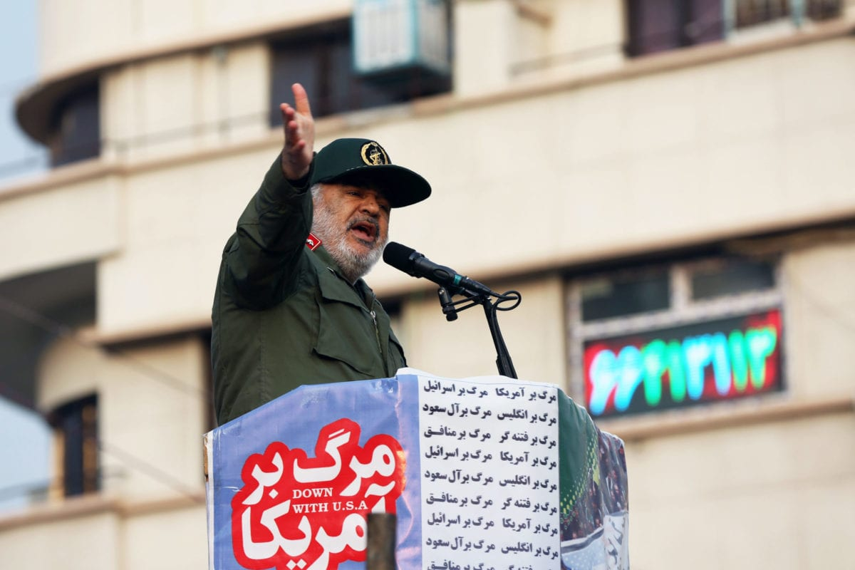 Islamic Revolutionary Guard Corps commander Hossein Salami addresses Iranians during a pro-government demonstration to react to protests due to fuel price increase of Iran, on November 25, 2019 in Tehran, Iran [Fatemeh Bahrami / Anadolu Agency]