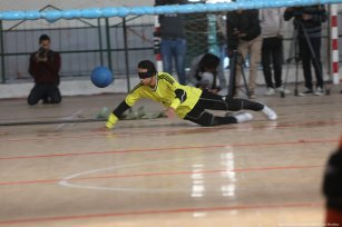 Gazans can be seen at the Goalball Championship, a game designed specifically for athletes who are visually impaired on 21 November 2019 [Mohammed Asad/Middle East Monitor]