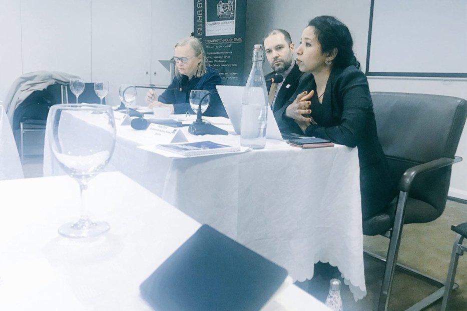 Rasha Obaid at South Yemen civil society event in London, on 26 November 2019 [Twitter]