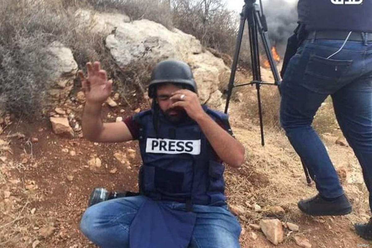 Palestinian photojournalist Muath Amarneh who was shot by an Israeli sniper in Gaza on 15 November 2019 [Twitter]