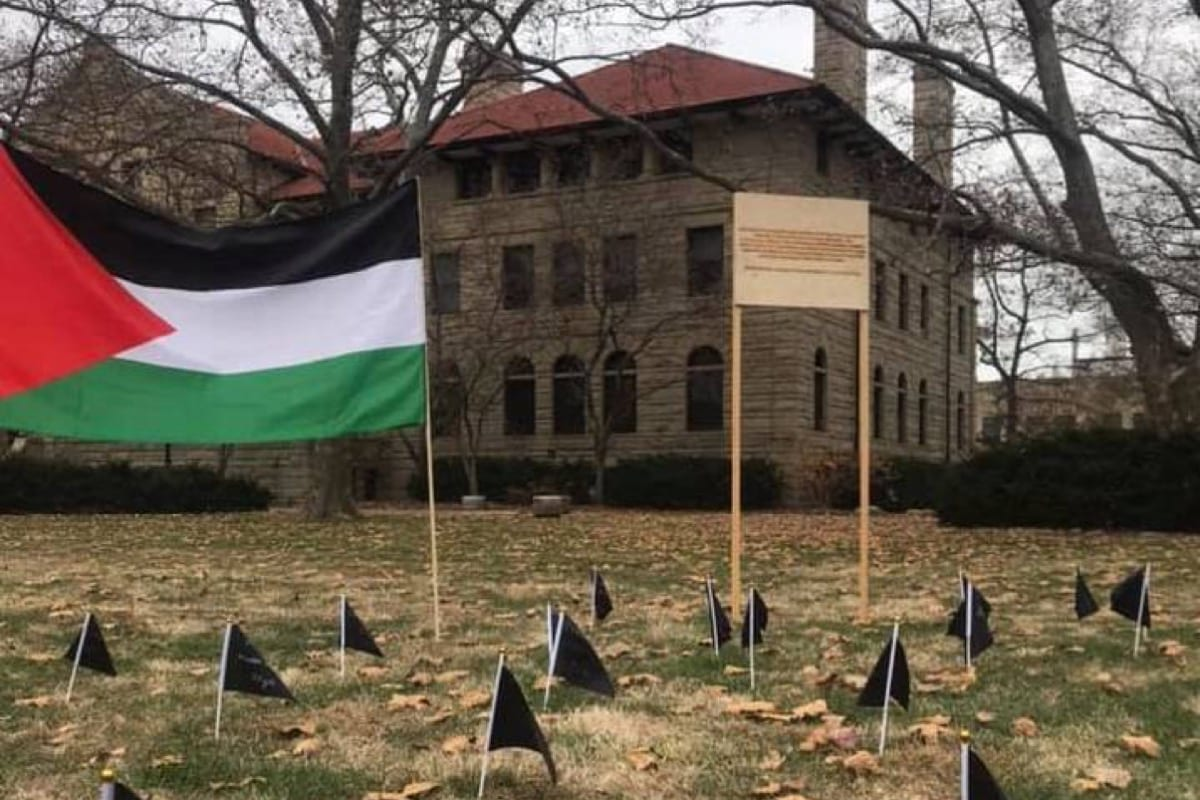 Students at the Oberlin College in the US set up a memorial for 34 Palestinians who were killed in the Israeli bombardment of Gaza, on 22 November 2019 [Facebook]
