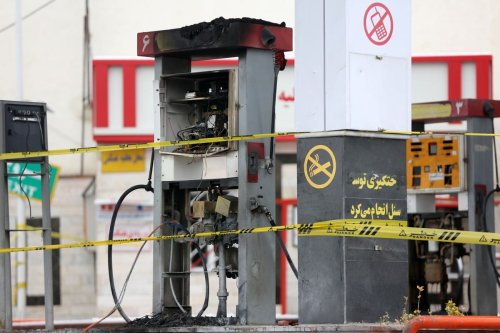 A damaged petrol station is seen after petrol price hike protests in Tehran, Iran on 20 November 2019 [Fatemeh Bahrami/Anadolu Agency]