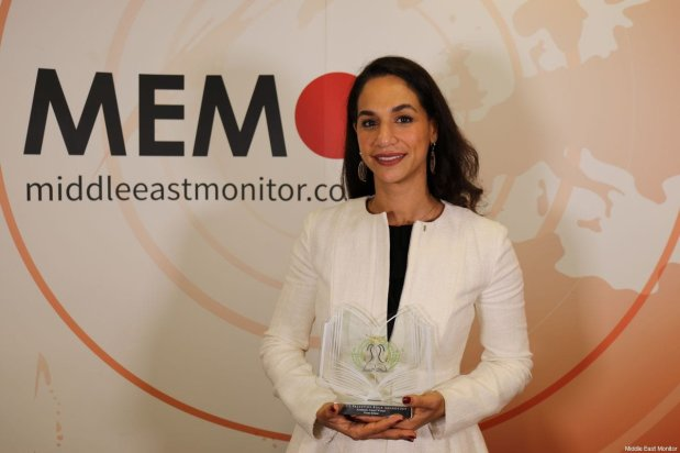 Noura Erakat, winner of the Academic Award, Awards seen at the 8th annual Palestinian Book Awards in London, UK, on 1 November 2019 [Middle East Monitor]