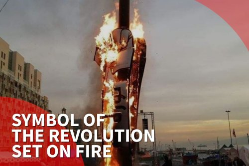 Thumbnail - The symbol of the Lebanese Revolution is set on fire on Independence Day