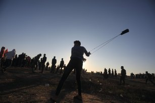 Palestinians gather at the Separation Fence as 'Great March of Return' demonstrations continue on Friday 20 December in Gaza [Mohammed Asad/Middle East Monitor]