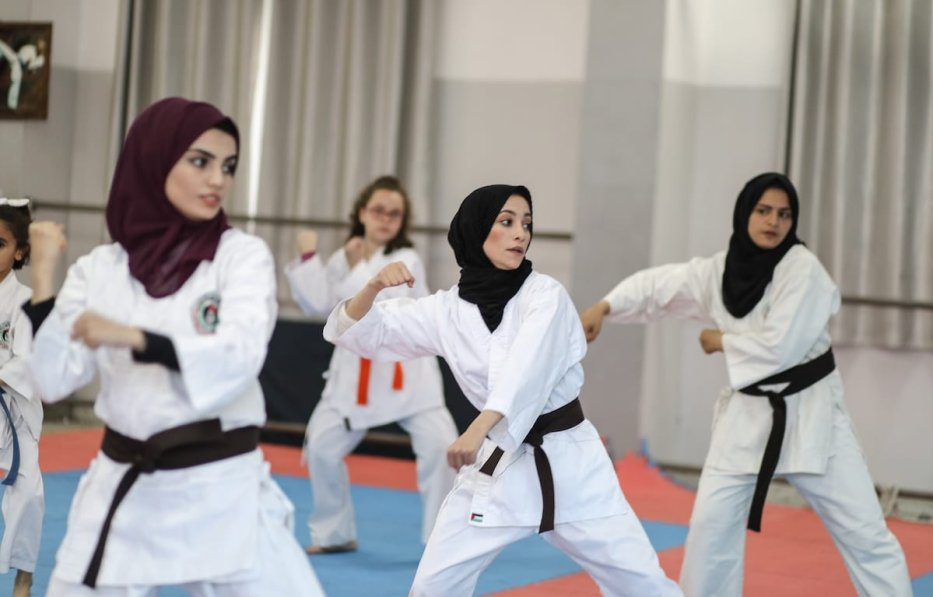Female karate students take part in a training in Gaza City, Gaza on 2 December 2019. [Ali Jadallah - Anadolu Agency]