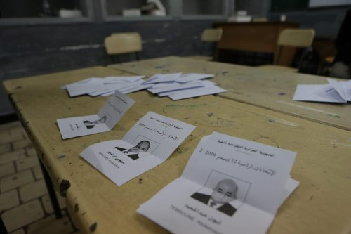 Votes are being counted after the voting ended for the presidential elections in Algiers, Algeria on 12 December 2019. [Farouk Batiche - Anadolu Agency]
