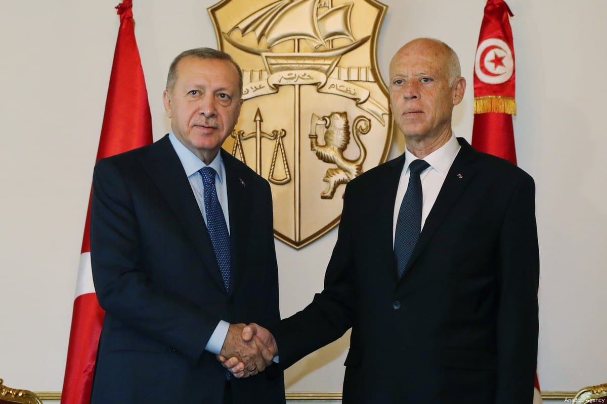 President of Turkey, Recep Tayyip Erdogan (L) and Tunisian President Kais Saied (R) meet in Tunis, Tunisia on 25 December 2019. [Turkish Presidency / Murat Cetinmuhurdar / Handout - Anadolu Agency]
