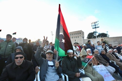 People come together in support of the UN-recognised government of national accord (GNA) in Tripoli, Libya on 27 December 2019 [Hazem Turkia/Anadolu Agency]