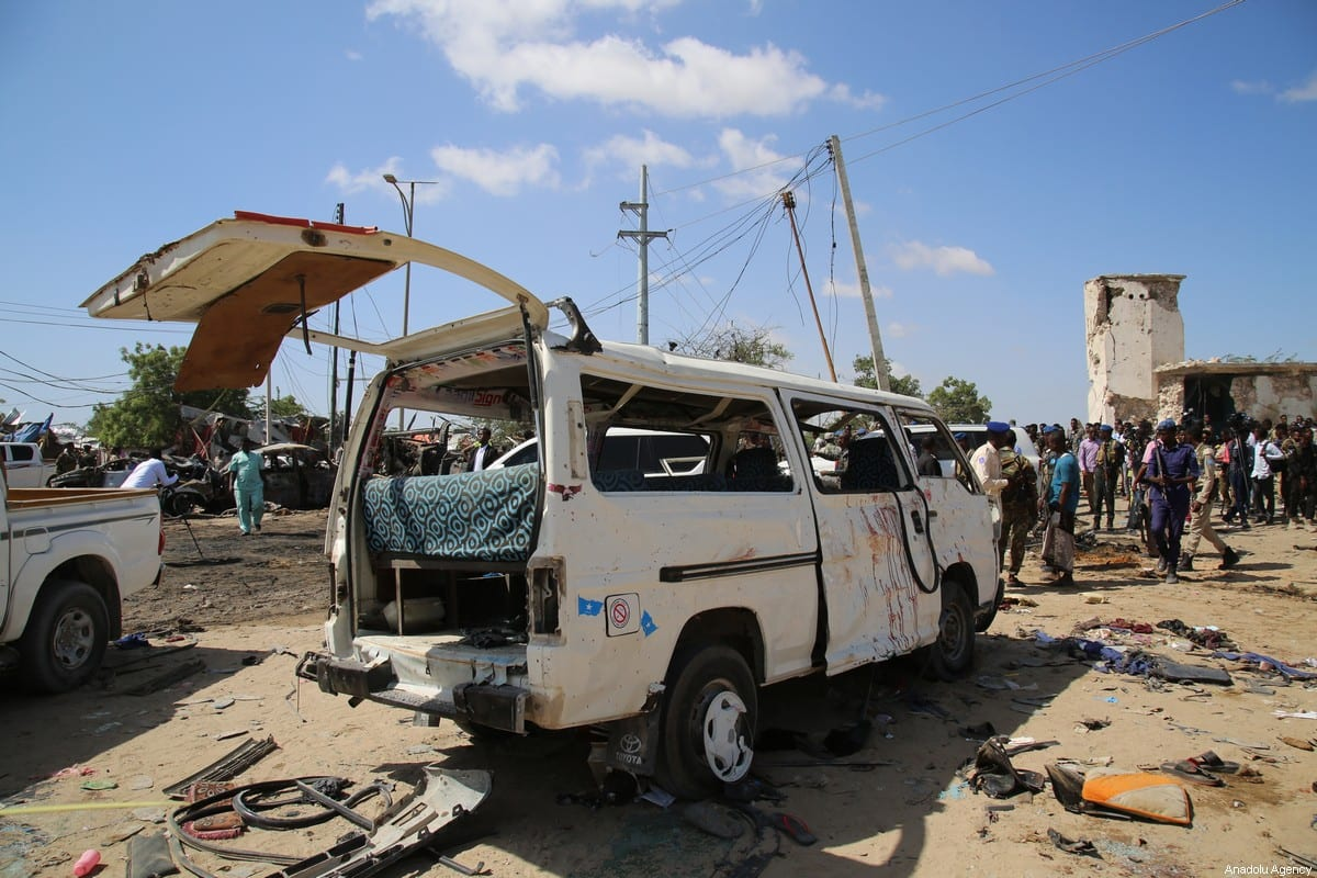 Damaged vehicles are seen at the site after a bomb attack carried out to a checkpoint in Somalia's capital Mogadishu on December 28, 2019 [Sadak Mohamed / Anadolu Agency]