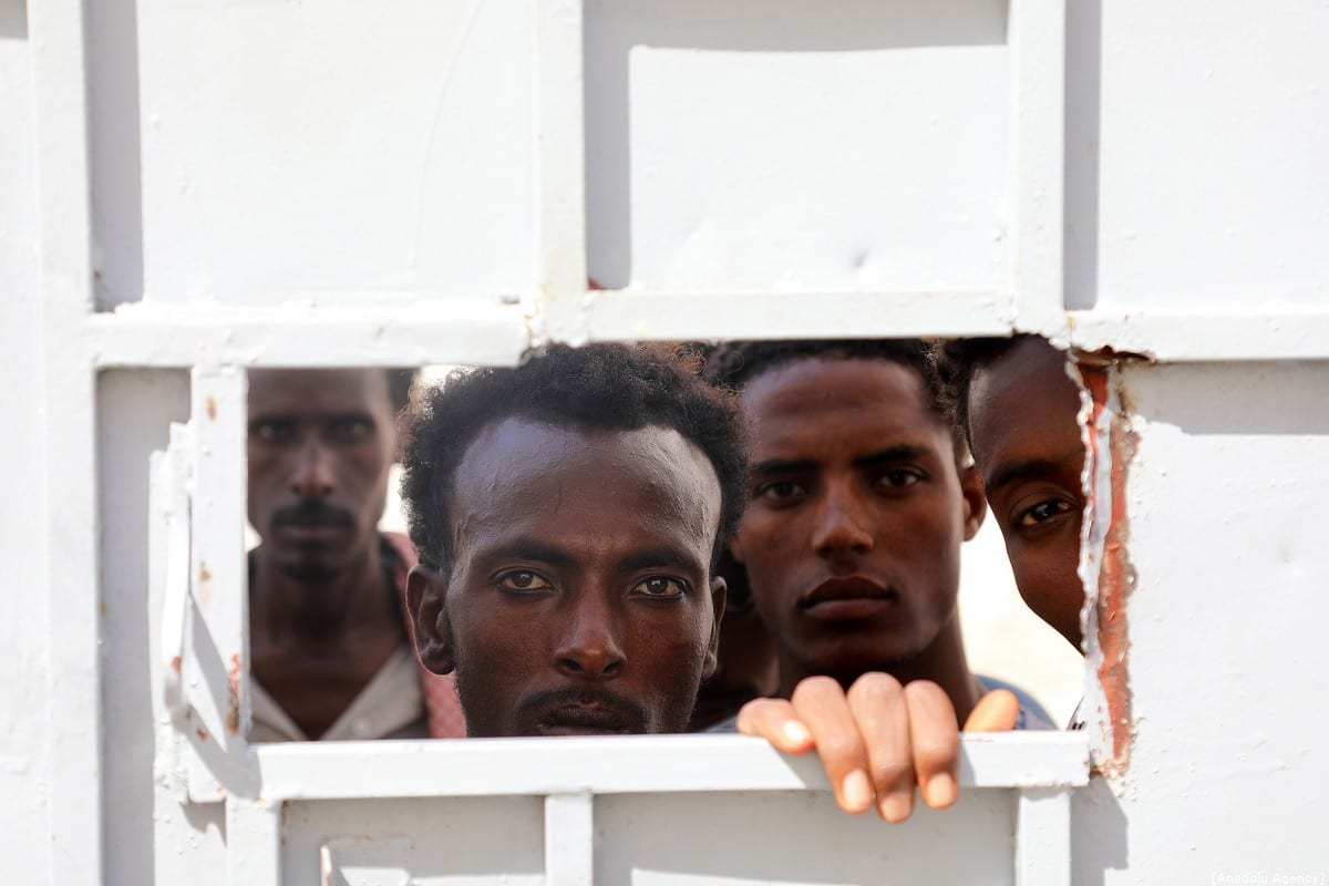 Irregular African migrants are seen at a prison in Taizz, Yemen on 25 December, 2019 [Abdulnaser Alseddik/Anadolu Agency]