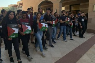 Egyptian students stage a walkout during a talk by former US Ambassador to Israel Daniel Kurtzer at the American University in Cairo, Egypt on 2 December 2019
