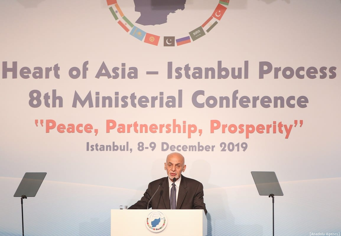 President of Afghanistan Ashraf Ghani speaks during 8th Ministerial Conference of Heart of Asia - Istanbul Process to convene under theme of Peace, Partnership, Prosperity in Istanbul, Turkey on December 9, 2019 [Emrah Yorulmaz - Anadolu Agency]
