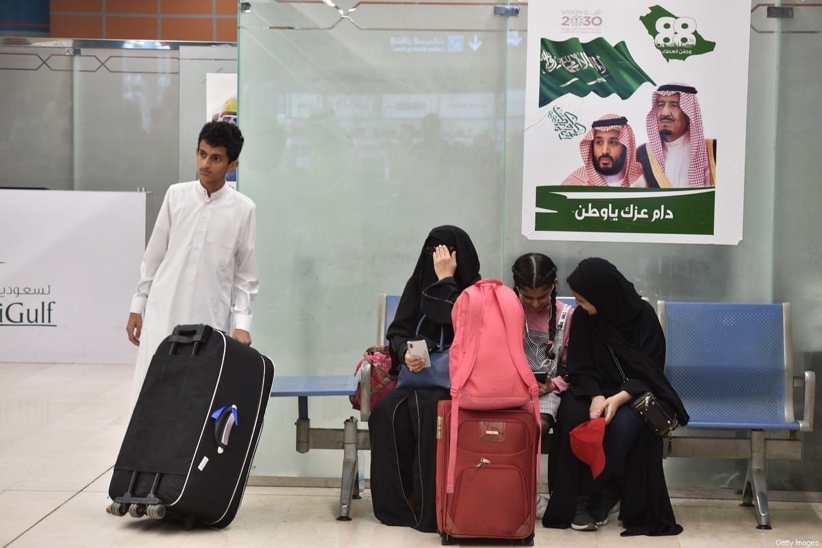 """A picture taken during a guided tour with the Saudi military on June 13, 2019 shows passengers waiting for their flight at Abha airport in the popular mountain resort of the same name in the southwest of Saudi Arabia, one day after a Yemeni rebel missile attack on the civil airport wounded 26 civilians. - Saudi Arabia accused its arch-foe Tehran of ordering the missile strike on the airport on June 12, drawing promises of """"stern action"""" from the Saudi-led coalition fighting the Yemeni Huthi rebels. (Photo by Fayez Nureldine / AFP) (Photo credit should read FAYEZ NURELDINE/AFP via Getty Images)"""