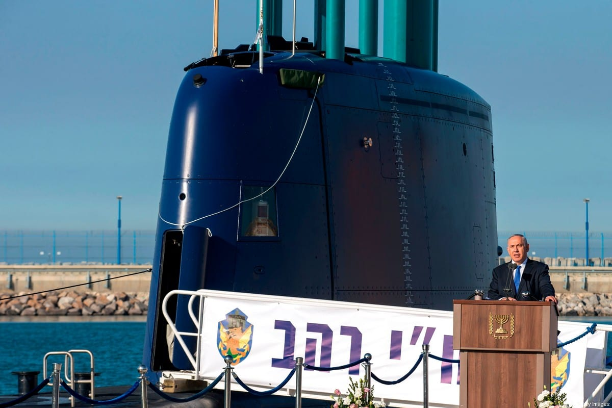 A file picture taken on January 12, 2016 shows the then Israeli Prime Minister Benjamin Netanyahu delivering a speech during a ceremony for the arrival of the German-made INS Rahav, the fifth Israeli Navy submarine, at the Israeli military port of Haifa [JACK GUEZ/AFP via Getty Images]