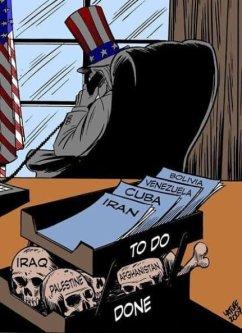 US has been seeking a war with Iran for decades [Cartoon by Carlos Latuff/Instagram]