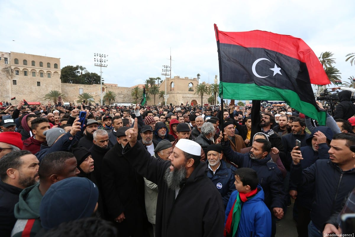Thousands of people gather at Martyr's Square within a funeral ceremony held after an airstrike on a military school in the south of the Libyan capital of Tripoli by jets loyal to renegade military commander Khalifa Haftar, in Tripoli, Libya on January 05, 2020 [Hazem Turkia / Anadolu Agency]