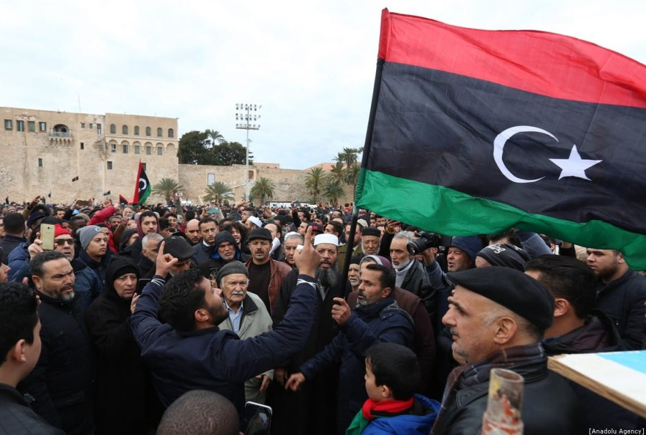 Thousands of people gather at Martyr's Square within a funeral ceremony held after an airstrike on a military school in the south of the Libyan capital of Tripoli by jets loyal to renegade military commander Khalifa Haftar, in Tripoli, Libya on 5 January 2020. [Hazem Turkia - Anadolu Agency]
