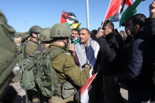 Israeli forces intervene in Palestinians during a protest against construction of Jewish settlements in Qalqilya, West Bank on 6 January 2020. [Nedal Eshtayah - Anadolu Agency]