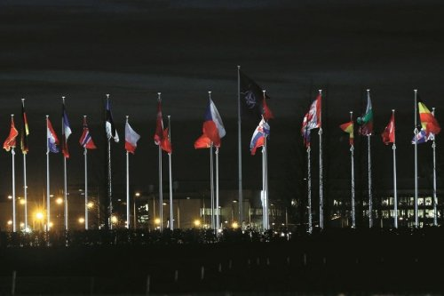 Flags of member states of NATO (North Atlantic Treaty Organization) fly at NATO Headquarters in Brussels, Belgium on January 6, 2020. [Dursun Aydemir/Anadolu Agency]