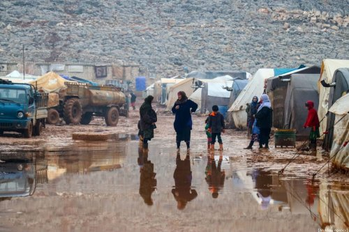 Syrian civilians are seen at Sarut Camp in Sarmada district of Idlib, Syria on 6 January 2020. [Erdal Türkoğlu - Anadolu Agency]