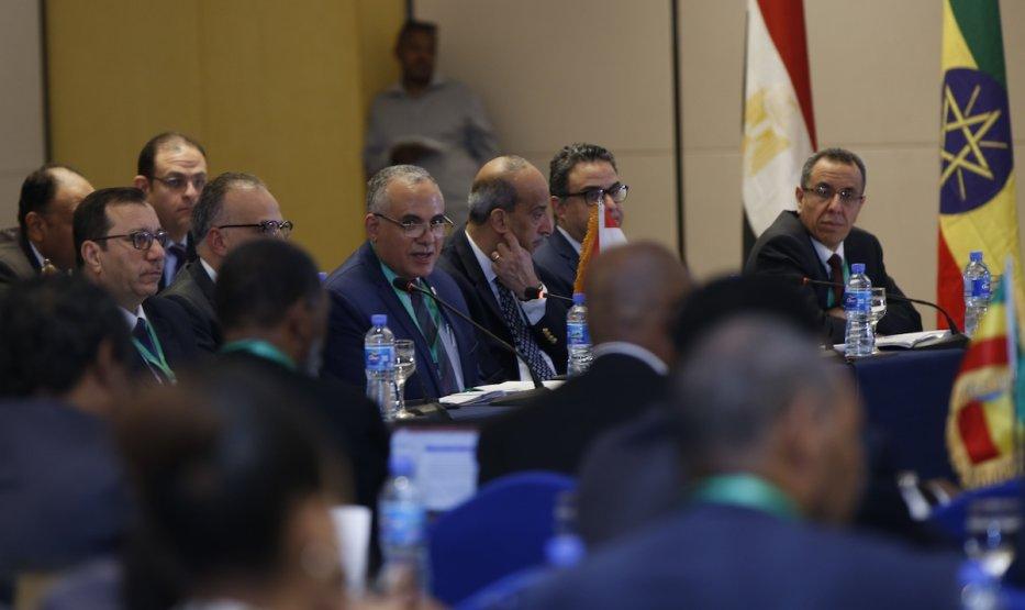 Representatives of Egypt, Sudan and Ethiopia meet to negotiate on the filling and operation of the Great Ethiopian Renaissance Dam (GERD) project in Addis Ababa, Ethiopia on 8 January 2020. [Mınasse Wondımu Haılu - Anadolu Agency]