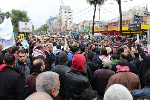 Jordanians stage a protest march to drop a gas purchasing agreement with Israel signed in 2016, in Amman, Jordan on January 10, 2020 [Laıth Al-jnaıdı/Anadolu Agency]
