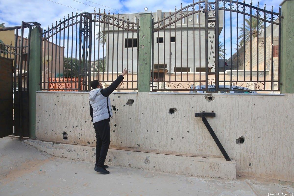 A damaged school building is seen after Haftar carried out air strikes in Tripoli, Libya on 10 January 2020 [Hazem Turkia/Anadolu Agency]