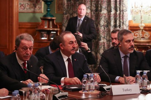 Turkish Foreign Minister Mevlut Cavusoglu (2nd L), Turkish National Defense Minister Hulusi Akar (L) and Chief of Turkish National Intelligence Agency (MIT) Hakan Fidan (R) attend the meeting on the efforts to ensure peace and stability in Libya, with Russian Foreign Minister Sergey Lavrov and Russian Defence Minister Sergey Shoygu at the Russian Foreign Ministry's Guest House in Moscow, Russia on 13 January 2020. [Cem Özdel - Anadolu Agency]