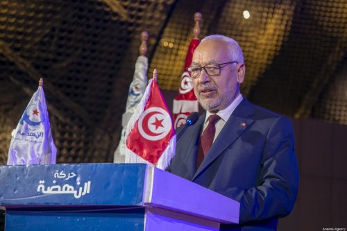 Tunisian Parliament Speaker Rashid Al Ghannouchi attends the 4th congress of Nahda movement student branches at Tunisia University in Tunis, Tunisia on 18 January 2020. [Yassine Gaidi - Anadolu Agency]