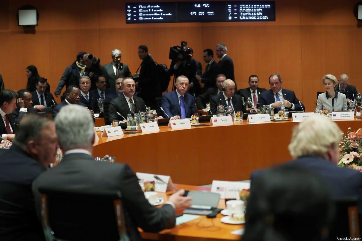President of Turkey Recep Tayyip Erdogan and Foreign Minister of Turkey Mevlut Cavusoglu attend the Berlin Conference on Libyan peace in Berlin, Germany on January 19, 2020. [Turkish Presidency/Murat Cetinmuhurdar/Anadolu Agency]