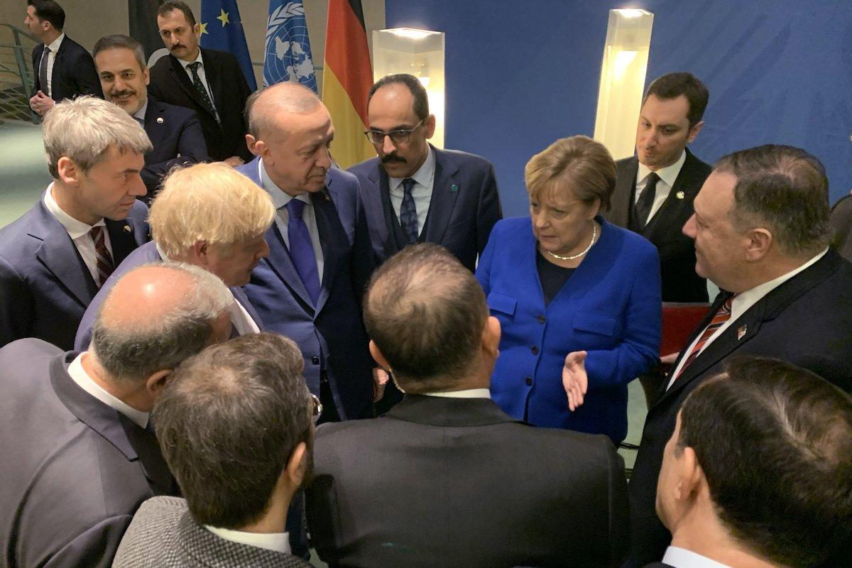 President of Turkey Recep Tayyip Erdogan meets German Chancellor Angela Merkel within the Berlin Conference on Libyan peace in Berlin, Germany on 19 January 2020. [Turkish Presidency / Murat Cetinmuhurdar - Anadolu Agency]