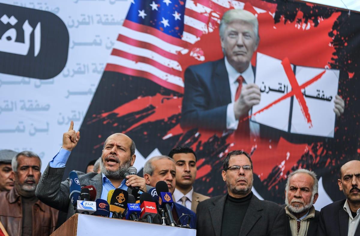 Senior Hamas leader Khalil al-Hayya makes a speech during a protest against Deal of Century in Gaza City, Gaza on January 28, 2020. [Ali Jadallah/Anadolu Agency]