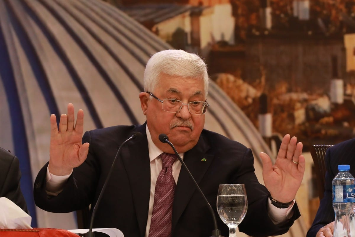 Palestinian President Mahmoud Abbas holds a press conference on Trump's so called peace plan in Ramallah, West Bank on 28 January 2020 [Issam Rimawi/Anadolu Agency]