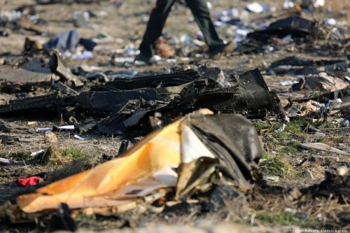 Pieces of the plane are seen at site after a Boeing 737 plane belonging to Ukrainian International Airlines crashed near Imam Khomeini Airport in Iran just after takeoff with 180 passengers on board in Tehran, Iran on 8 January 2020. [Fatemeh Bahrami - Anadolu Agency]