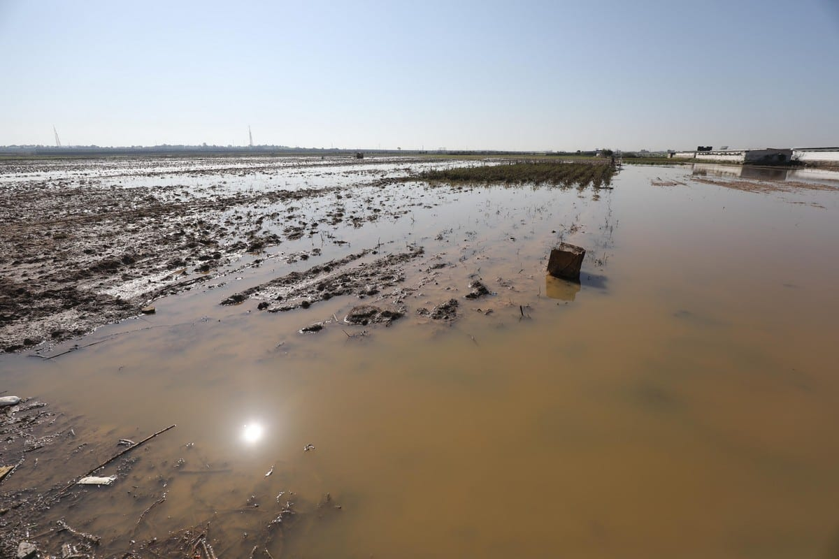 Israeli forces opened rainwater stores allowing water to flood Gaza on 15 January 2020 [Mohammed Asad/Middle East Monitor]