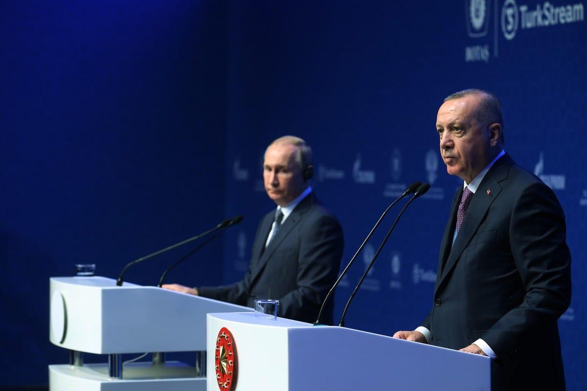 President of Turkey Recep Tayyip Erdogan (R) and his Russian counterpart Vladimir Putin (L) attend the opening ceremony of TurkStream natural gas pipeline project in Istanbul, Turkey on 8 January 2020 [Mustafa Kamacı/Anadolu Agency]