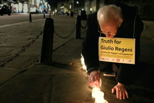 Lighting candles for Giulio Regeni, in his memory and for truth and justice for him and for the hundreds of Egyptians forcibly disappeared each year, on February 2017 [Flickr]