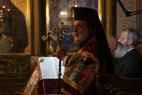 Greek Orthodox worshippers celebrate Christmas Mass, at St. Porphyrios Church in Gaza City