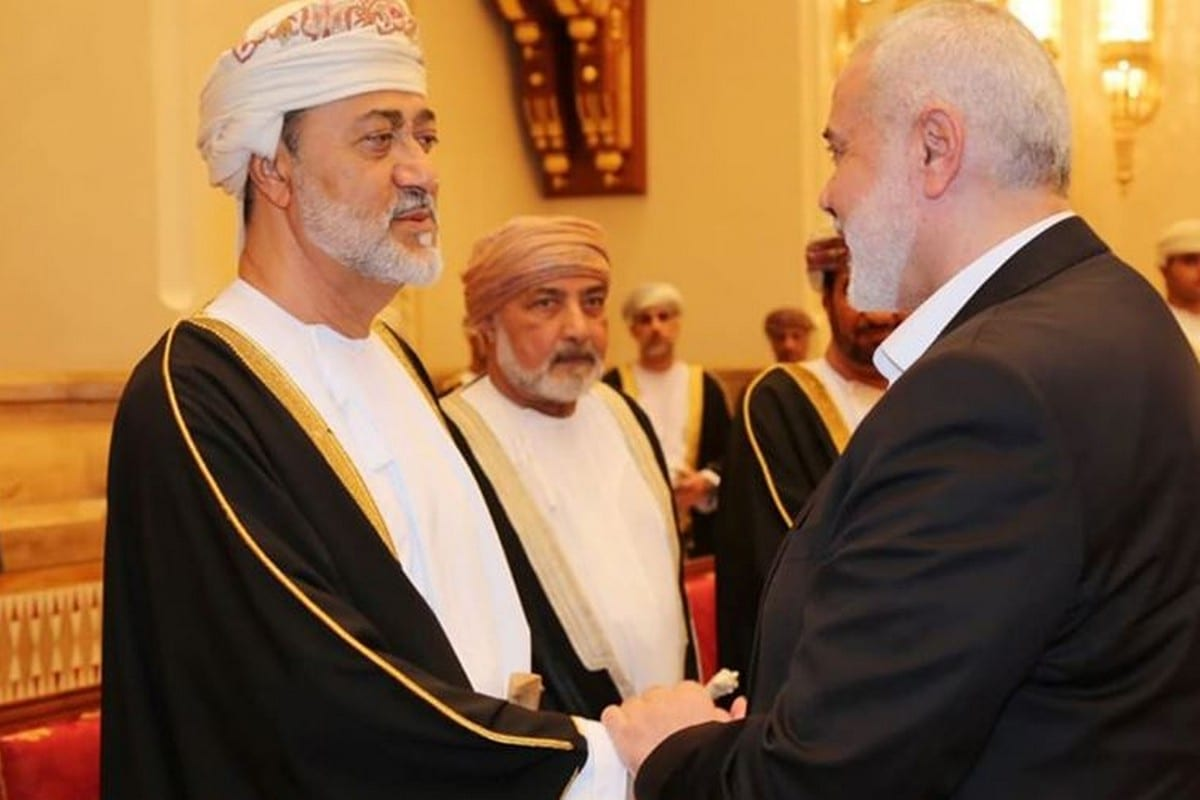 Leader of Hamas Ismail Haniyeh (L) arrived to the Omani capital, Muscat, to offer condolences for the death of Sultan Qaboos on 12 January 2020