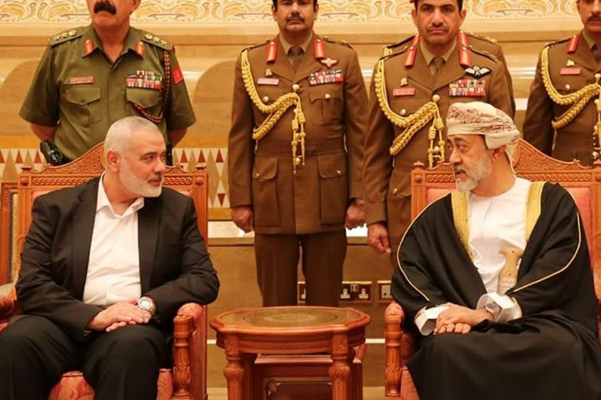 Leader of Hamas Ismail Haniyeh (L) arrived to the Omani capital, Muscat, to offer condolences for the death of Sultan Qaboos